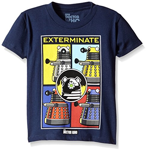 Doctor Who Little Boys' Short Sleeve Tee Shirt, Navy Box, 4