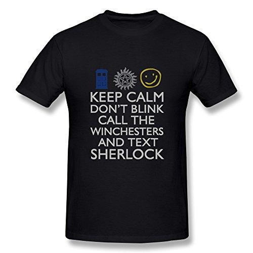 Koyee Men's Keep Calm Don't Blink Call The Winchesters And Text Sherlock T-Shirt – Geek Tee Shirt Black US Size XS