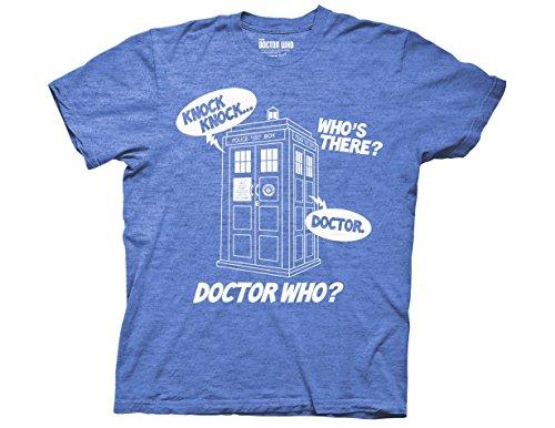 Ripple Junction Doctor Who Knock Knock Adult T-Shirt Medium Blue