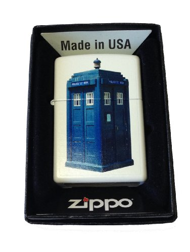 Zippo Custom Lighter – British Blue Tardis Police Box White Matte