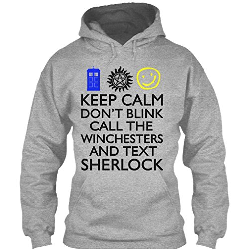 Keep Calm Don't Blink Call The Winchesters Supernatural Winchester T Shirt Hoodie (XXL,Sport Grey)