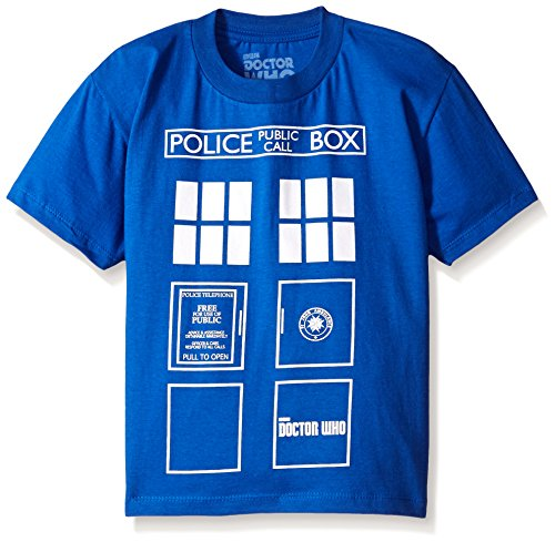 Doctor Who Big Boys' Short Sleeve T-Shirt Shirt, Blue Box, 10/12